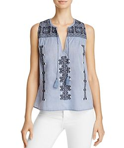 Joie | Manette Embroidered Tassel Top 100 Exclusive