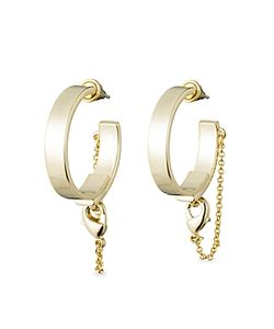 Eddie Borgo | Thin Safety Chain Hoop Earrings