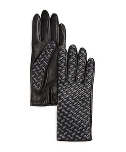 Agnelle | Two-Tone Braided Leather Gloves