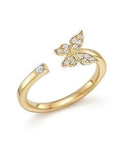 Bloomingdale's   Diamond Butterfly Ring In 14k .10 Ct. T.W.