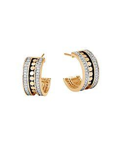 John Hardy | 18k Dot Diamond Hoop Earrings