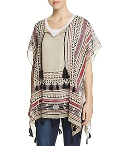 Fraas | Geometric Poncho With Tassels