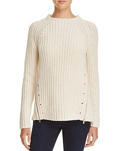 Aqua | Asymmetric Zip Crewneck Sweater 100 Exclusive