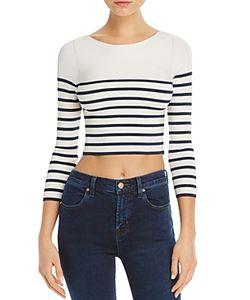 T by Alexander Wang   Stripe Crop Sweater