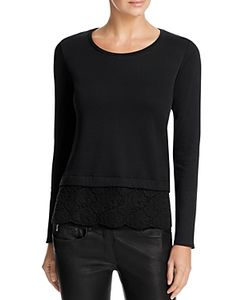 Majestic Filatures | Lace Hem Sweatshirt