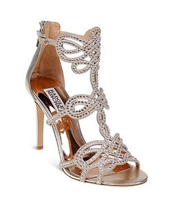 Badgley Mischka | Teri Embellished Leather High Heel Sandals