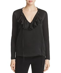 Majestic Filatures | Ruffle Neck Mixed Media Top