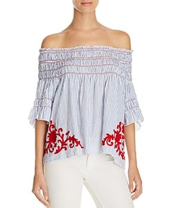 Piper | Sarah Smocked Appliqued Off-The-Shoulder Top