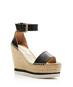 See by Chloé | See By Chloe Glyn Leather Espadrille Platform Wedge Ankle Strap Sandals