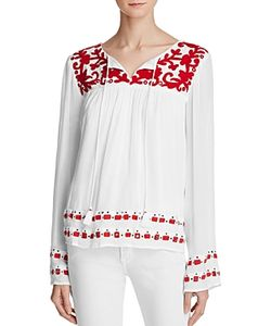 Piper | Sarah Embroidered Peasant Top