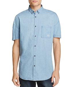 Zanerobe   Distressed Denim Slim Fit Button-Down Shirt