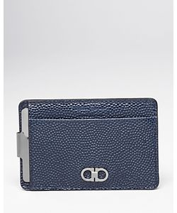 Salvatore Ferragamo | Ten-Forty One Pebbled Leather Money Clip Card Case
