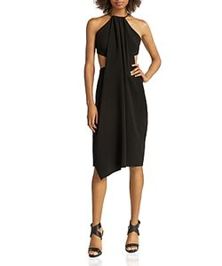 Halston Heritage | Chain-Strap Crepe Cutout Dress