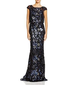 Badgley Mischka | Cap Sleeve Sequin Blouson Gown