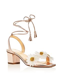Charlotte Olympia | Tara Flower Embellished Ankle Tie Sandals