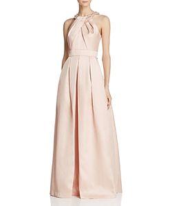Eliza J   Jeweled-Neck Pleated Gown