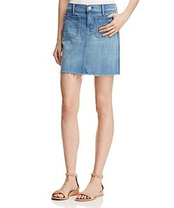 Mother   Patchie Mini Fray Denim Skirt In