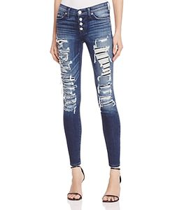 Hudson | Ciara Exposed Button Skinny Jeans In