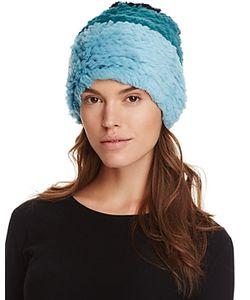 Jocelyn   Color Block Rabbit Fur Knit Hat