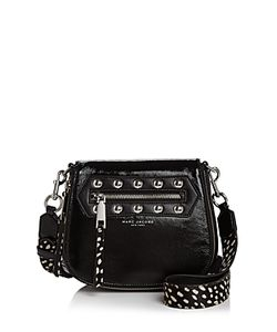 Marc Jacobs | Nomad Studded Calf Hair Strap Small Patent Leather Saddle