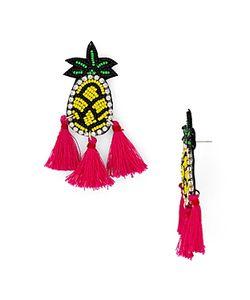 Aqua | Pineapple Tassel Drop Earrings 100 Exclusive