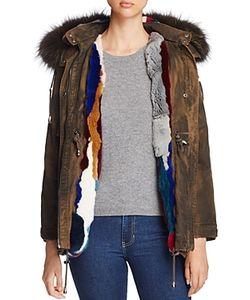 Jocelyn   Olive Rabbit Fur Fox Fur-Trim Parka 100