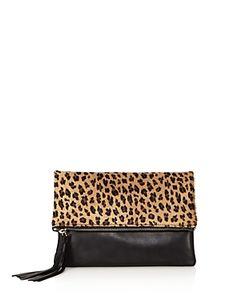 Aqua | Foldover Leopard Print Calf Hair And Leather Crossbody 100