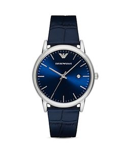 Emporio Armani | Crocodile-Embossed Leather Strap Watch 43mm