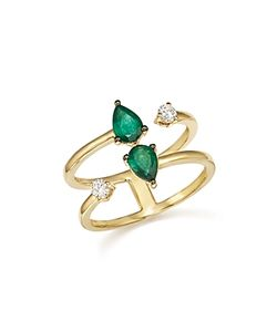 Bloomingdale's | Emerald And Diamond Double Row Ring In 14k