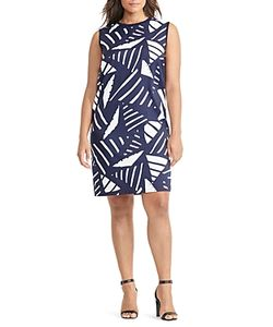 Ralph Lauren | Lauren Plus Geo Print Mixed Media Dress