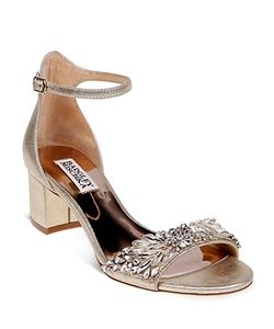 Badgley Mischka | Tamara Embellished Leather Mid Heel Sandals