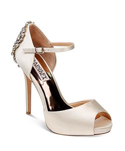 Badgley Mischka | Dawn Embellished Satin Ankle Strap High Heel Pumps