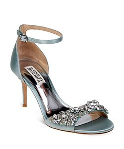 Badgley Mischka | Bankston Satin Embellished Ankle Strap High Heel Sandals