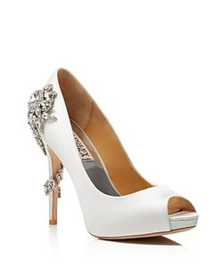 Badgley Mischka | Royal Embellished Peep Toe High Heel Pumps