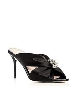 Oscar de la Renta | Embellished Silk High Heel Slide Sandals