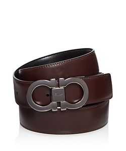 Salvatore Ferragamo | Reversible Belt With Double Gancini Gunmetal Buckle