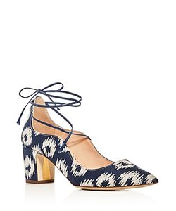 Rupert Sanderson | Poet Ikat Lace Up Pointed Toe Pumps