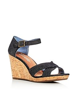 TOMS | Sienna Denim Ankle Strap Wedge Sandals