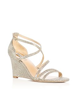 Badgley Mischka | Bonanza Glitter Strappy Wedge Sandals