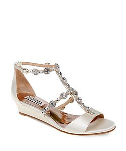 Badgley Mischka | Terry Embellished T Strap Wedge Sandals