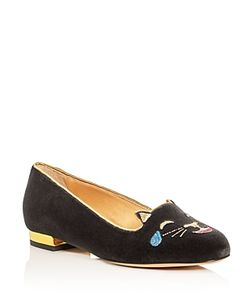 Charlotte Olympia | Lol Kitty Embroidered Velvet Flats