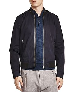 The Kooples | Vietnamese Coffee Leather Trim Bomber Jacket