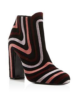 Salvatore Ferragamo | Feel Velour Stripe Block Heel Booties