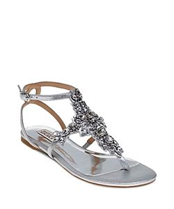 Badgley Mischka | Cara Ii Embellished T Strap Sandals