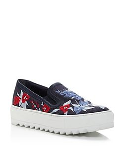 Salvatore Ferragamo | Egla Embroidered Denim Platform Slip On Sneakers