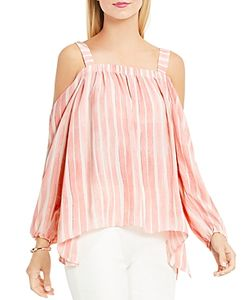 Vince Camuto | Abstract Stripe Cold Shoulder Blouse