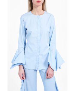 Sara Battaglia | Collarless Ruffle Cuff Shirt Boutique1