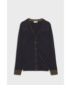 John Smedley | Backwell Tipped Neck Merino Wool Cardigan Boutique1