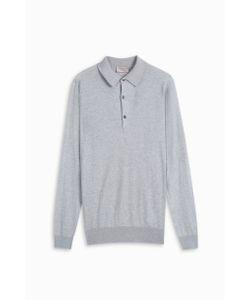 John Smedley   Mens Long Sleeve Polo Shirt Boutique1