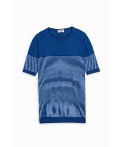 John Smedley   Mens Crew Neck Stripe T-Shirt Boutique1